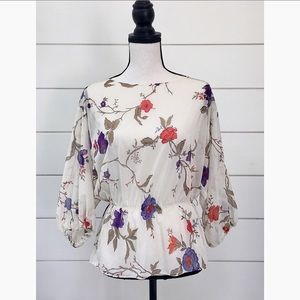 Vintage 70s Romantic Floral Billowy Blouse